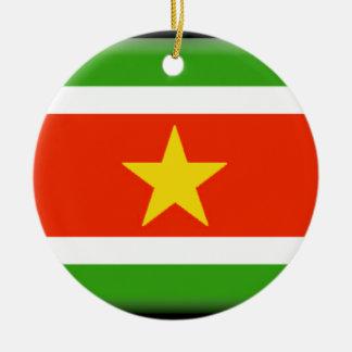 Bandera de Suriname Adorno Redondo De Cerámica