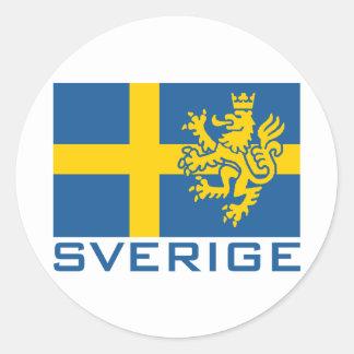 Bandera de Sverige Pegatina Redonda