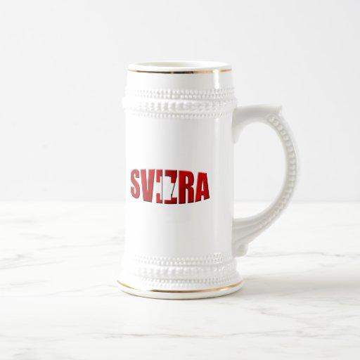 Bandera de Svizra - Romansh que habla los regalos  Jarra De Cerveza