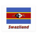Bandera de Swazilandia con nombre Tarjeta Postal