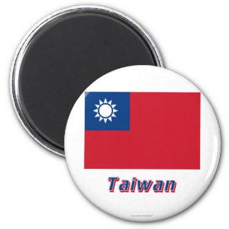 Bandera de Taiwán con nombre Imán Redondo 5 Cm