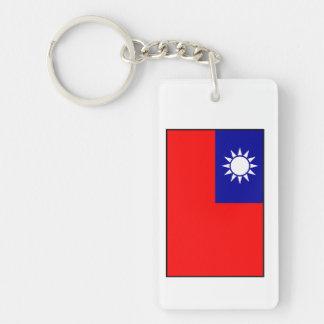 Bandera de Taiwán/de la República de China Llavero Rectangular Acrílico A Doble Cara