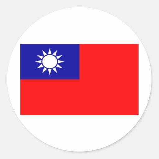 Bandera de Taiwán Etiquetas Redondas