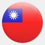 Bandera de Taiwán Pegatinas Redondas