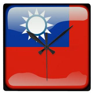 Bandera de Taiwán Reloj Cuadrado