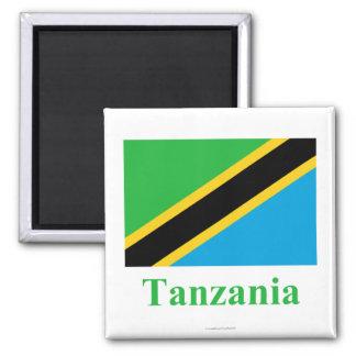 Bandera de Tanzania con nombre Imán Cuadrado