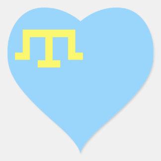 Bandera de tártaros crimeos pegatina en forma de corazón