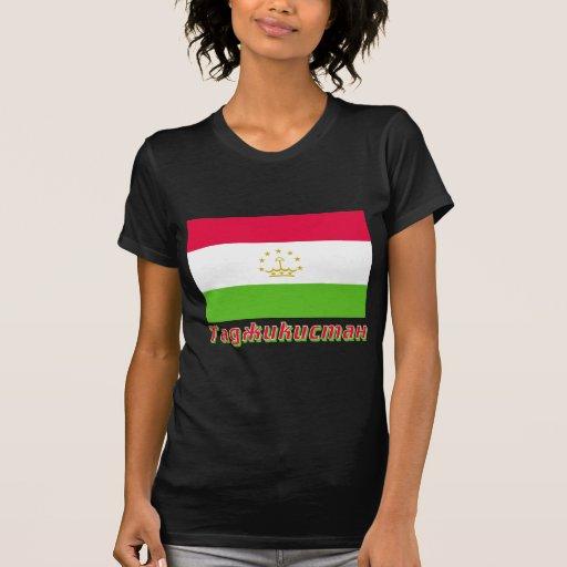 Bandera de Tayikistán con nombre en ruso Camisetas