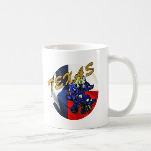 Bandera de Tejas del Bluebonnet Taza De Café