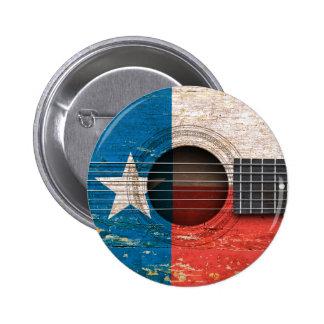 Bandera de Tejas en la guitarra acústica vieja Pin Redondo De 2 Pulgadas