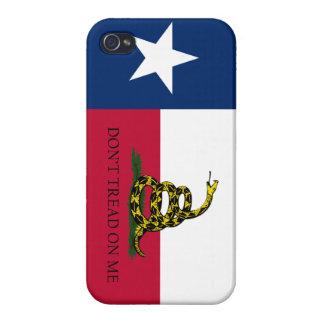Bandera de Tejas Gadsden para la impresión normal  iPhone 4/4S Carcasas