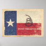 Bandera de Tejas y de Gadsden Póster