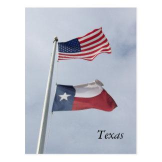 Bandera de Tejas y postal de la bandera de Estados
