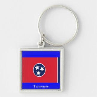 Bandera de Tennessee Llavero Cuadrado Plateado