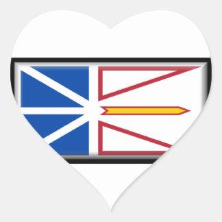 Bandera de Terranova (Canadá) Pegatina En Forma De Corazón