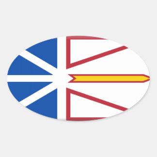 Bandera de Terranova (Canadá) Pegatina Ovalada