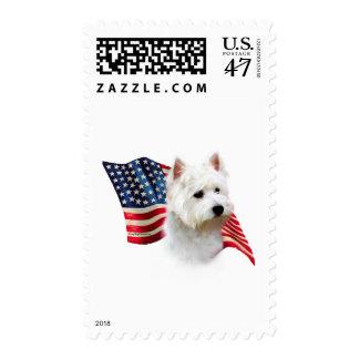 Bandera de Terrier blanco de montaña del oeste Estampilla