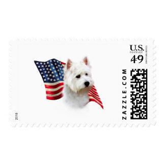 Bandera de Terrier blanco de montaña del oeste Sellos Postales