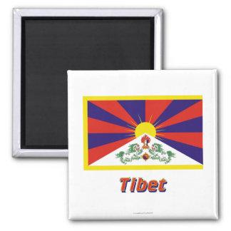 Bandera de Tíbet con nombre Imán Cuadrado
