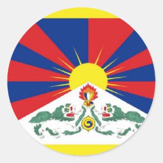 Bandera de Tíbet Pegatina Redonda