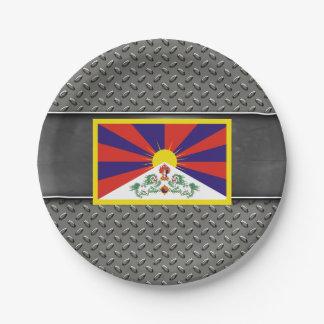 Bandera de Tíbet Plato De Papel De 7 Pulgadas