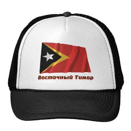 Bandera de Timor Oriental que agita con nombre en  Gorros