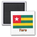Bandera de Togo con nombre en ruso Imanes De Nevera