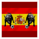 Bandera de Toro del futbol de Furia Roja del La de Póster