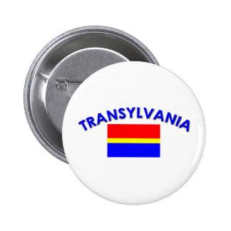 Bandera de Transilvania (w/inscription) Pin Redondo De 2 Pulgadas