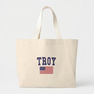 Bandera de Troy NY los E.E.U.U. Bolsa De Tela Grande