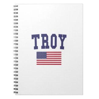 Bandera de Troy NY los E.E.U.U. Libretas Espirales