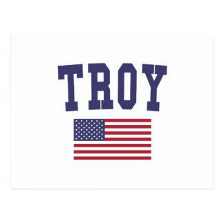 Bandera de Troy NY los E.E.U.U. Tarjetas Postales