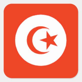 Bandera de Túnez Calcomania Cuadradas