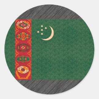 Bandera de turcomano del modelo del vintage etiqueta redonda
