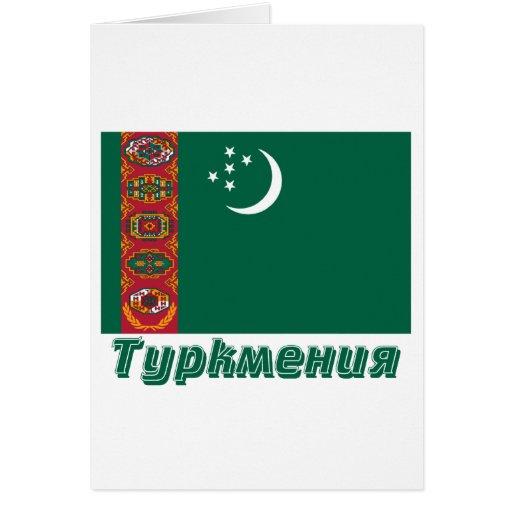 Bandera de Turkmenistán con nombre en ruso Tarjetas