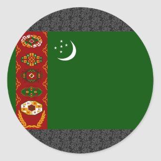 Bandera de Turkmenistán Pegatinas Redondas