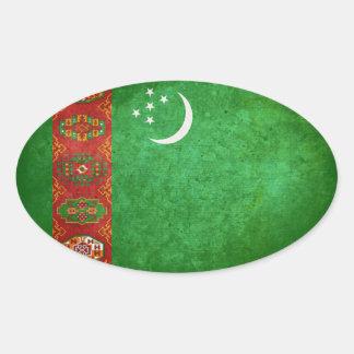 Bandera de Turkmenistán Calcomania De Óval