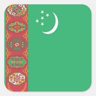 Bandera de Turkmenistán Pegatina Cuadrada