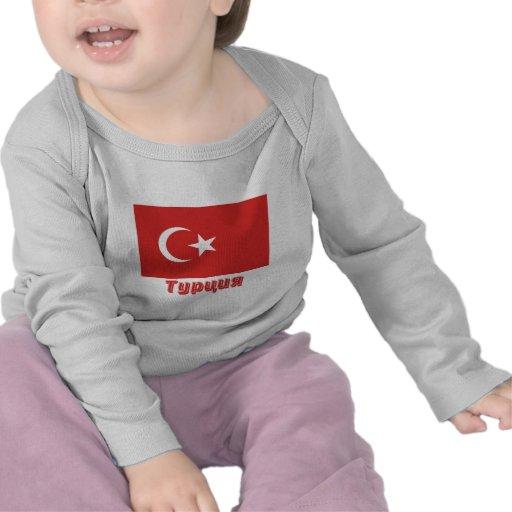 Bandera de Turquía con nombre en ruso Camiseta