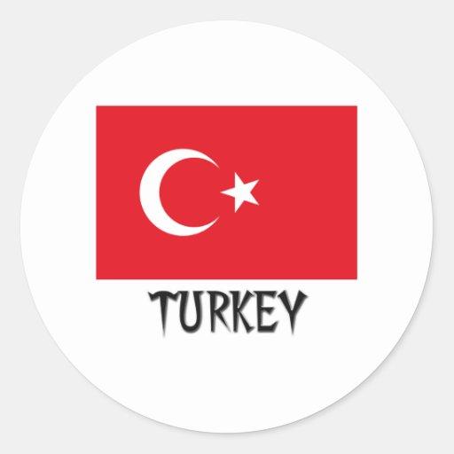 Bandera de Turquía Etiquetas Redondas