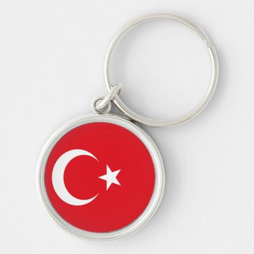 Bandera de Turquía Llavero Redondo Plateado