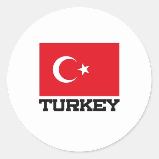 Bandera de Turquía Pegatina Redonda