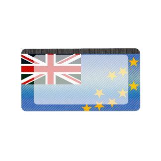 Bandera de Tuvalu pelada moderna Etiquetas De Dirección