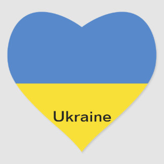 Bandera de Ucrania Calcomania De Corazon