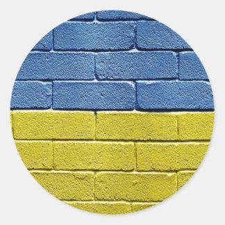 Bandera de Ucrania Etiquetas Redondas