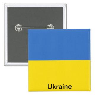 Bandera de Ucrania Pin Cuadrado
