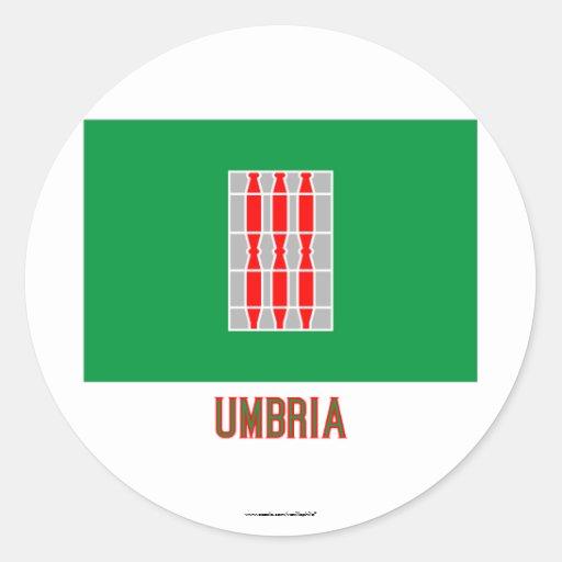 Bandera de Umbría con nombre Pegatina Redonda