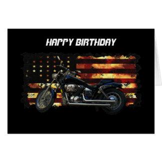 Bandera de unión, barras y estrellas, motocicleta tarjeta de felicitación