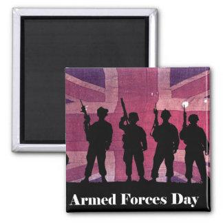Bandera de unión del día de fuerzas armadas de imán cuadrado