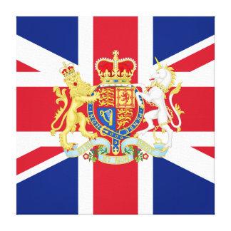 Bandera de unión del jubileo de diamante y escudo  impresión en lona estirada